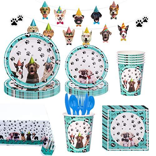 Noe Hund Partygeschirr Set 114 Pcs, Hunde Geburtstag Deko für 16 Gäste, Haustiere Pappgeschirr Tiere Partygeschirr Kindergeburtstag mit Teller+Becher+Servietten+Tischdecke