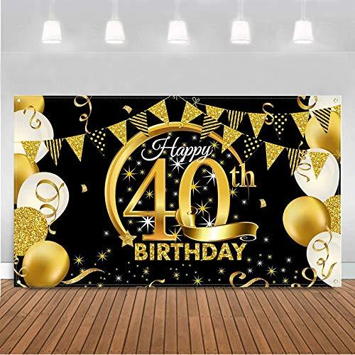 BOYATONG 40. Geburtstag Dekoration Schwarz Gold, Extra Große Stoff Schild Poster zum 40. Jahrestag Foto Stand Hintergrund Banner, 40 Jahre Geburtstag Party Lieferung für Frau Mann