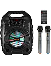 EARISE T26 Pro Máquina de karaoke con 2 micrófonos inalámbricos, sistema PA portátil Altavoz Bluetooth PA con luces LED, grabación de audio, radio FM, control remoto, soporta tarjeta TF/USB/AUX