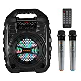 EARISE T26 Pro Karaoke Machine with 2 Wireless Microphones, Portable PA System Bluetooth PA Loudspeaker with LED Lights, Audio Recording, FM Radio, Remote Control, Supports TF Card/USB/AUX