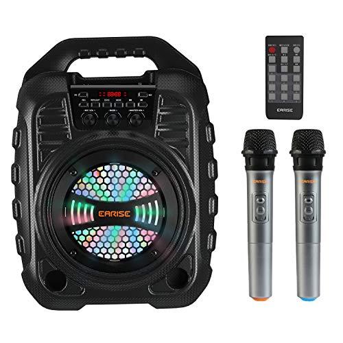 EARISE T26 Pro Máquina de karaoke con 2 micrófonos inalámbricos, sistema PA...