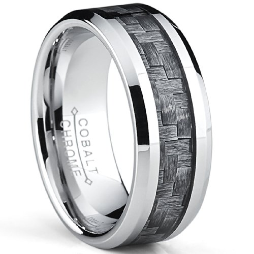 Metal Masters Co. High Polish Cobalt Men's Wedding Band Engagement Ring W/Gray Carbon Fiber Inlay, Comfort Fit SZ 8