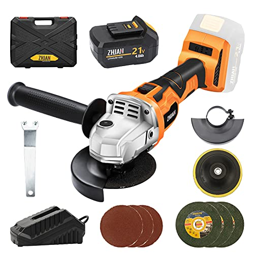 ZHJAN 21V Cordless Angle Grinder,100mm,8700RPM,4.0Ah Lithium-Ion Battery and Fast Charger,Includes 3 Cutting Wheels and 4 Grinding Accessories,Used for Cutting and Grinding