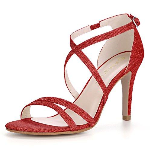 allegra k stilettos Allegra K Women's Glitter Stiletto Strappy Sandals Sandals