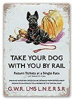 犬の鉄道旅行 金属板ブリキ看板警告サイン注意サイン表示パネル情報サイン金属安全サイン