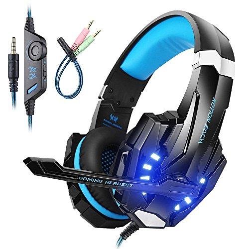 Mengshen Auriculares para Juegos para PS4 / Xbox One / Xbox One S / PC / Mac / Laptop / Celular - Auriculares para Juegos con Micrófono, Luz LED, Sonido Envolvente Bajo, Cancelación de Ruido, Orejeras Suaves, G9000 Blue