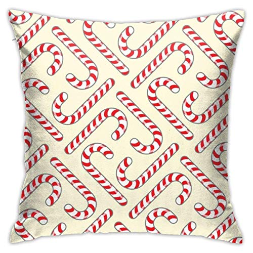 N/C Kid Room Decor Pillowcase Red Candy Cane Cotton Square Throw Pillow Cover for Bed Sofa Chair Cushion Cases 18 X 18 Inches