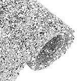 BENECREAT Hoja de Diamante de Imitación 3mm Epoxi Cristal Brillante Plateado Adorno de Diamantes de Imitación para Bolsos Costura Zapatos 40x24cm