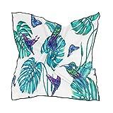 ALARGE Bufanda cuadrada de seda con hojas tropicales de palma para pájaros, protector solar ligero y suave, bufandas para envolver chal para mujeres y niñas