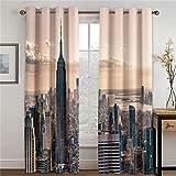 ZFSZSD - Cortinas opacas opacas New York City Dimensiones: 234 x 138 cm (largo x alto) Cortina parasol térmica, aislante, cortinas para dormitorio, salón o ventana decoración 2 paneles