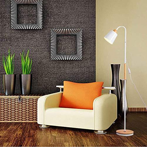 CLJ-LJ Piso de madera nórdica Led Lámpara de piso, minimalista Forma Creativa dormitorio Estudio de la lámpara a distancia japonesa Eye-El cuidado Verticales luz del piso