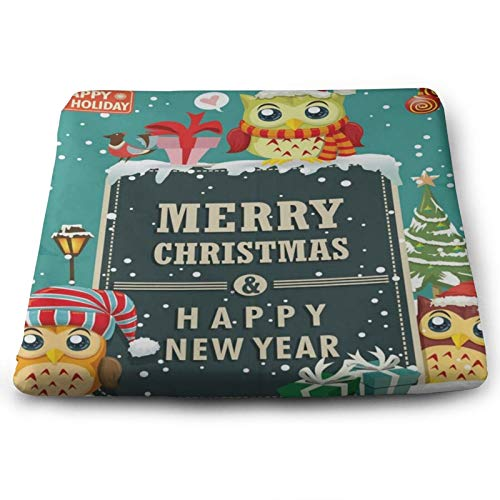 Merry Christmas and Happy New Year Owl Chair Seat Cushions Pads Memory Foam Office Dining Kitchen Soft Chair Cushion Set of 4 for Pressure Relief, Wheelchairs, Patio, Cafe, Garden, Indoor, Non Slip
