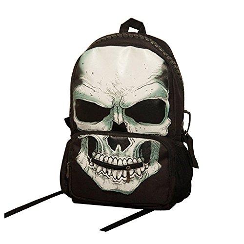 Unisex Large Capacity Pirate Skull Punk Canvas Backpack School Bag