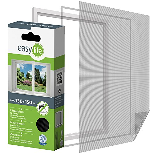 easy life Insektenschutzgitter für Fenster inkl. Klettband 130 x 150 cm anthrazit
