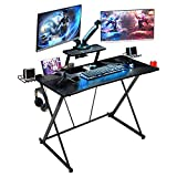 Mr IRONSTONE Gaming Desk 41.7' W x 23.6' D with Monitor Stand, Black Home Office Computer Desk with Cup Holder, Headphone Hook, Speaker Holders and Cable Managements