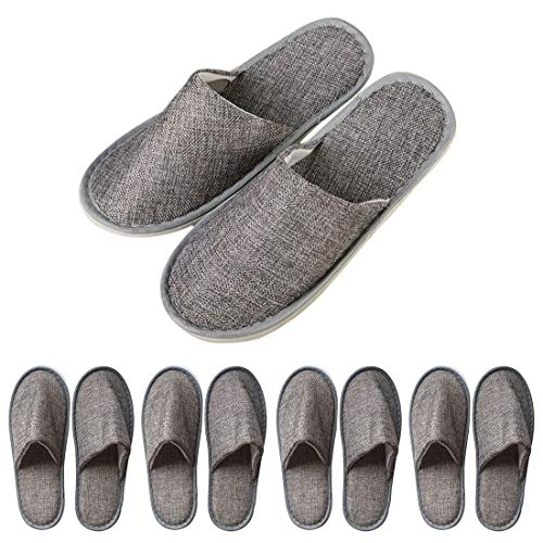 RenHe Gästeschuhe Einweg-Pantoffeln für Herren und Damen, ideal für Badezimmer, Haus und Schönheit, Wohnzimmer, Spa, Hotels, - 5 Paar - Größe: Taille unique X-Large