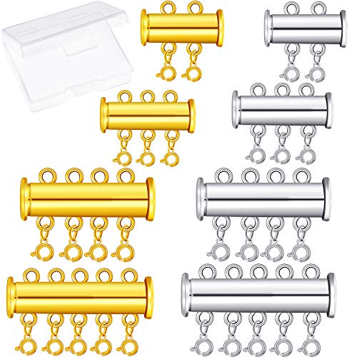 8 Pieces 4 Sizes Slide Clasp Lock Necklace Connector Multi Strands Slide Tube Clasps with Storage Box for Layered Bracelet Necklace Jewelry Crafts (Gold and Silver)