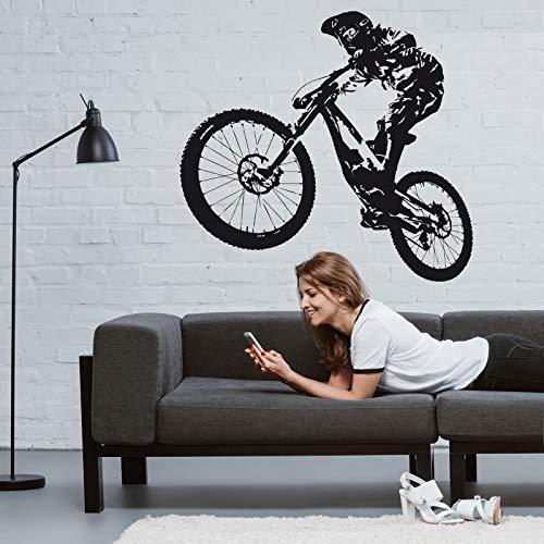 ROGX Wandtattoo Fahrrad Mountain-Bike Downhill 116cm x 114cm schwarz matt