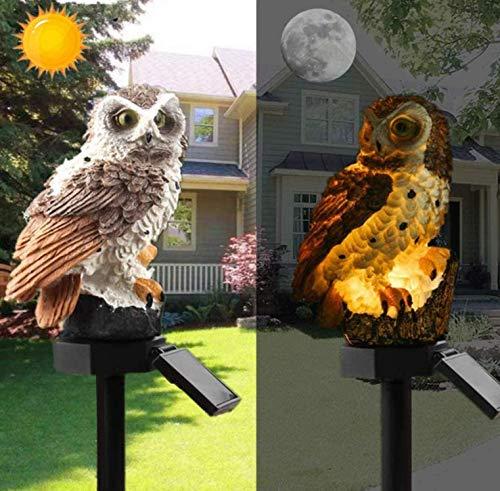 Luces solares de búho, con energía solar, LED, impermeables, con forma de búho, paisaje, para exteriores, jardín, estatuas de noche, adorno (marrón oscuro)