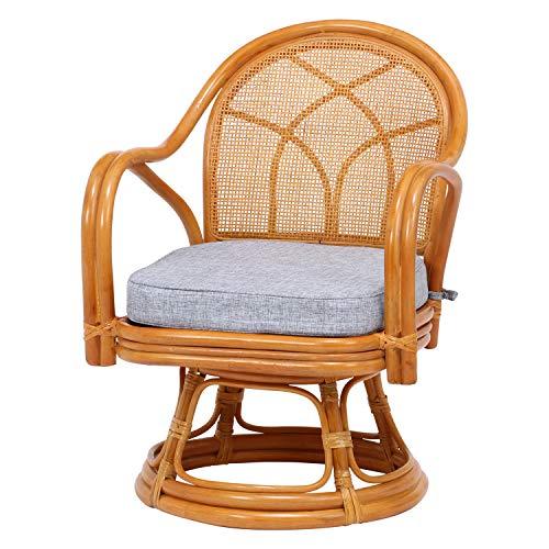 不二貿易 回転 座椅子 ナチュラル 座面高さ23cm 肘付き ラタン 85343