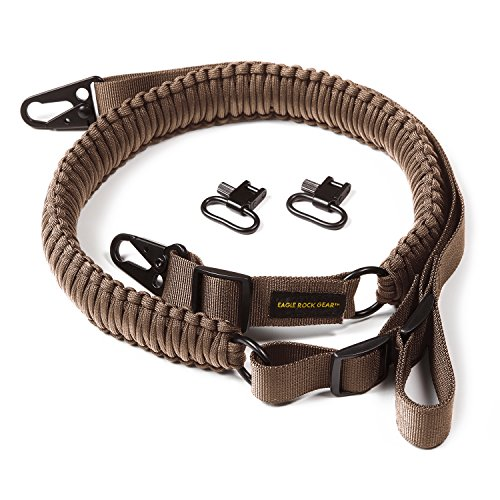 Eagle Rock Gear 550 Paracord 2 Point Gun Sling for Rifles, Shotguns, Crossbows, Airsoft - with Easy Adjustable Strap, HK Clips, Swivels (Tan)