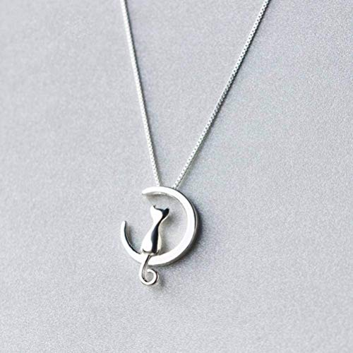 S925 zilveren halsketting voor dames Koreaanse natuurlijke zoete kat ketting mooie maan korte sleutelbeen ketting vrouw, S925 zilver set ketting, 925 zilver, EEH A ZILVER