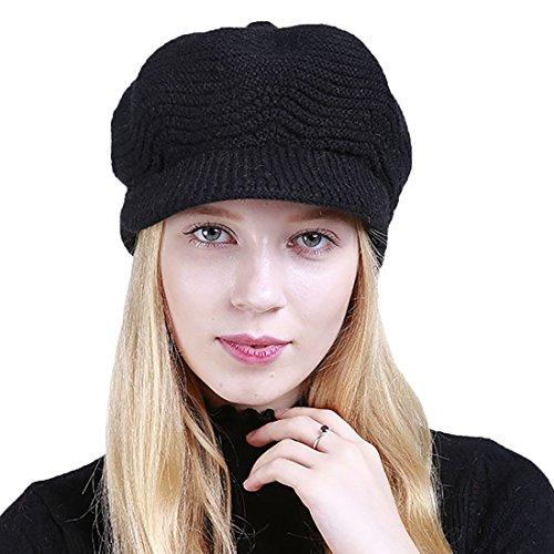 Boomly Damen Strickmütze Winter Mützen Mit Schirm Warm Plus Samt Deckel Weich Wollmütze Mode Kappe Outdoor Skimütze (Schwarz)