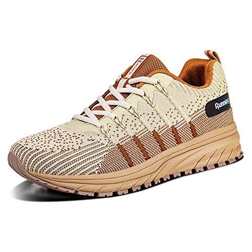 Straßenlaufschuhe Herren Damen Laufschuhe Fitness Turnschuhe Sneakers Air Sportschuhe Running Shoes(03-Khaki,36)