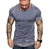 T-Shirt Homme Casual - Hommes Été T-Shirt Impression Slim Fit col en V à Manches Courtes Sweatshirt Coton Muscle Fitness Sport Casual Tops Blouse Chemises