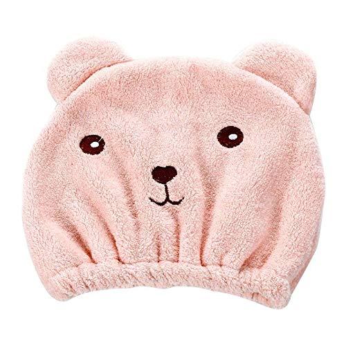 LHKJ Sombrero de Pelo seco Cartoon Bear Mujer Linda Seco Gorro para el Cabello, Suave Absorbentes de Agua Pelo Seco Capucha para Todos los Tipos de Cabello y Longitudes