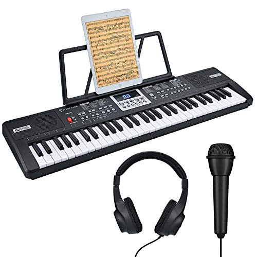 Starfavor 61 Key Portable Electric Keyboard Electronic Piano for Kids Beginners, with Power Supply, Built In Speakers, LED Screen, Microphone, Headphone (SEK-361)