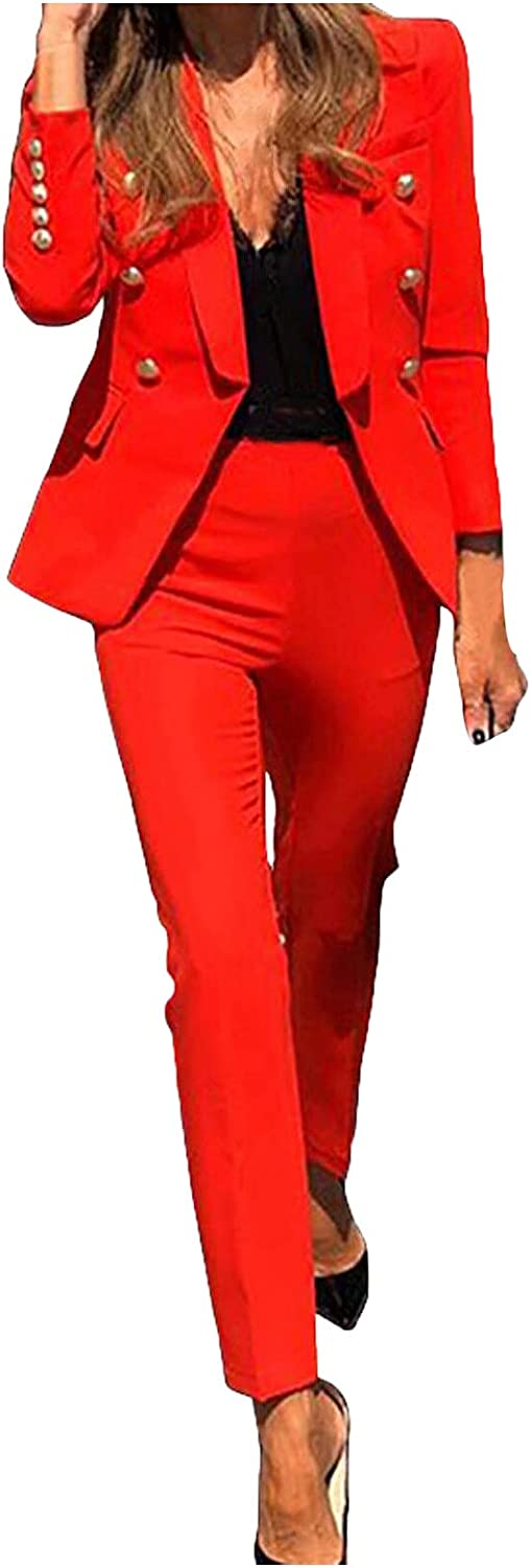 Xinantime Women Solid Color Blazer Set Double Breasted Lapel Long Sleeve Suit and High Waist Pencil Pants Office Set Outfit