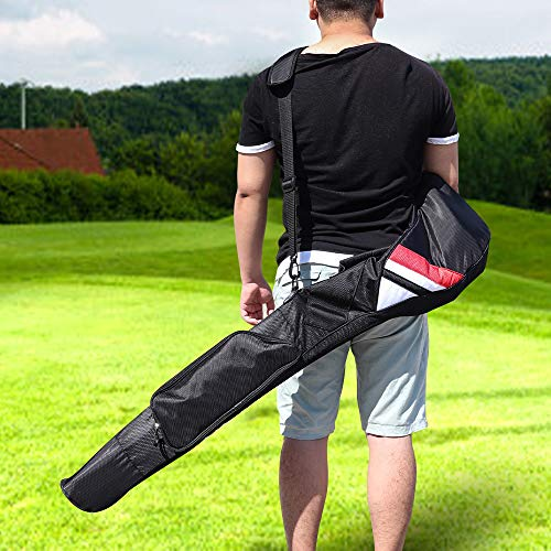 Golf Carry Bag Clubs Case Foldable Zippered Carry Bag Sunday Bag Black with Big Pocket (Black) (Black)