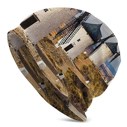 Valender Beanie Men Women - Molinos de Viento de España Medieval en Consuegra Old Historical Landmark - Gorra Unisex con puños Lisos de Punto de Calavera
