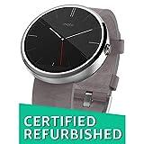Motorola Moto 360 - Stone Grey Leather Smart Watch (Renewed)