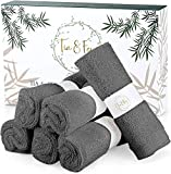 T&F Wash Clothes For Face - Soft Face Cloth Made From Organic Bamboo Set of 6 Gray Face Towel Gentle on Sensitive Skin, Face Wash Cloth, Soft Washcloths For Face, Bamboo Washcloths 10 x 10 Inch