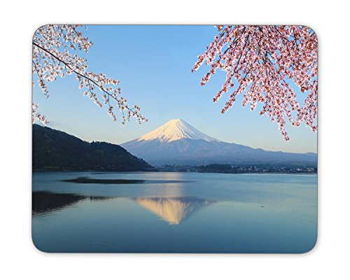 Mount Fuji with Cherry Blossom Mouse Pad mouse mouse pad Mouse Pad Pad Office Mouse Pad Gaming Mouse Pad Mat Mouse Pad mousepad Dimension: 9.5' x 7.9'