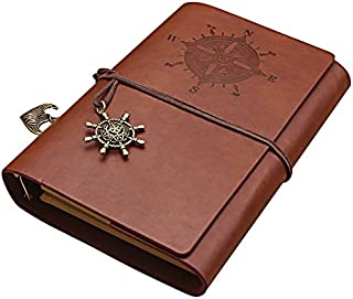 yepmax Vintage Leather Journal Scrapbooking Plain Paper Refillable Diary Brown