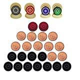 Carrom Board Wooden Coins and Tournament Striker Professional Set, ( 24 Carrom Board Pieces + 4 Striker Random Design with Case) – White/Red/Black