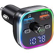 Weback Bluetooth FM Transmitter for Car, BT 5.0 &QC3.0 Wireless Bluetooth FM Audio Adapter Music Player Car Kit with LED Backlit, Hands-Free Calling, 2 USB Ports, Hi-Fi Music, Support U Disk/TF Card