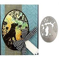 カッティングダイ [犬と鳥]手作り 描画テンプレート ナーリング DIY クラフト アルバム カード 絵図 手帳用 紙飾り用 カード作り道具 ペーパーカット-シルバー クリスマス 新年 用-Silver