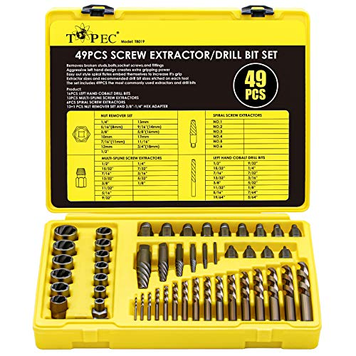 Topec 49pcs Screw Extractor/Drill Bit Set, professional remove set for removing broken studs, bolts, socket screws and fittings