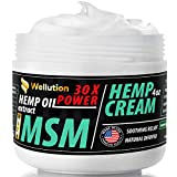 Hemp Cream MSM 30x Power – All-Natural Seed Oil Extract for Knee, Lower Back, Feet, Wrist and Joint Pain Relief - Extra Strength Massage Lotion with Arnica, Menthol and Organic Oils