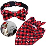 Malier Dog Bandana and Collar Set Pet Christmas Classic Plaid Snowflake Dog Scarf Triangle Bibs Kerchief Adjustable Collars with Bow Tie Pet Costume Accessories Decoration for Cats Dogs Pets (Small)