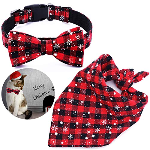 Malier Dog Bandana and Collar Set Pet Christmas Classic Plaid Snowflake Dog Scarf Triangle Bibs Kerchief Adjustable Collars with Bow Tie Pet Costume Accessories Decoration for Cats Dogs Pets (Large)