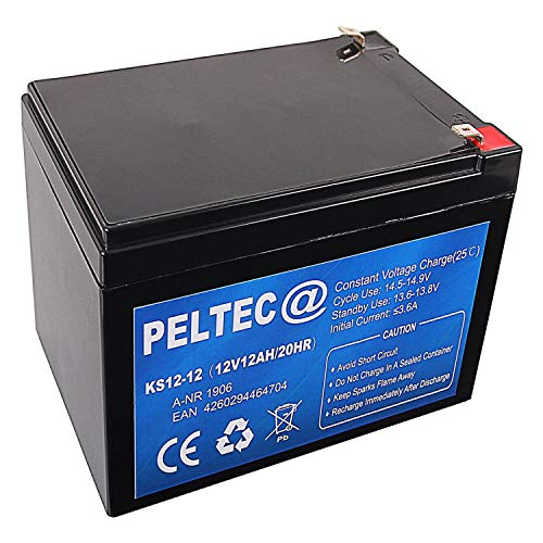 PELTEC@ Premium Blei AGM VLRA Akku Batterie 12V 12Ah 20HR ersetzt auch 12V 10Ah (zyklenfest + wartungsfrei)