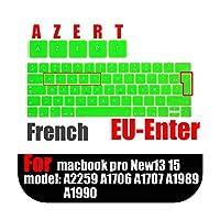 フランス語バージョンのラップトップキーボード保護フィルムfor Macbook touchbar13 15インチ防水EU AZERTキーボードカバーシリコーンケース-green-
