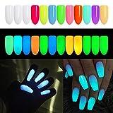 DUOLE 12 colori Noctilucent nail glitter polvere incandescente fluorescente nail art polvere acrilica,pigmenti luminosi per unghie fai da te per manicure e fai da te