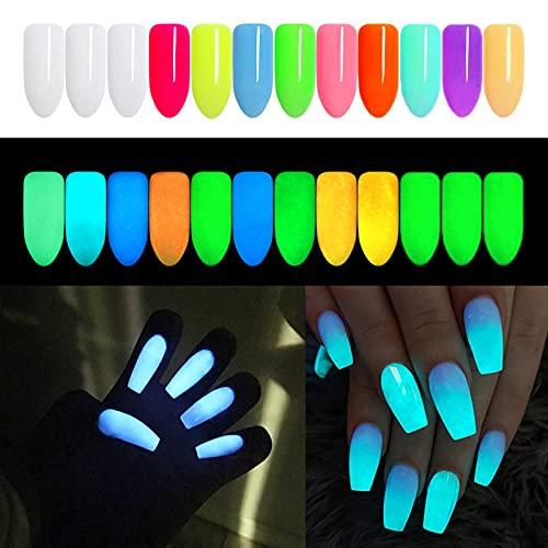 DUOLE 12 colori Noctilucent nail glitter polvere incandescente fluorescente nail art...