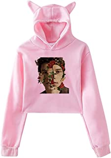 Aebipo Womens Cat Ear Pullover Hoodie Dye S-hawn Men-des 98 Hooded Sweatshirt Hoodies for Women Girls Clothes Outdoor Sport Coat Tops Pink